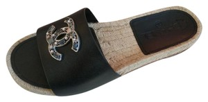Chanel Leather Beaded Espadrille Casual Designer Black Mules