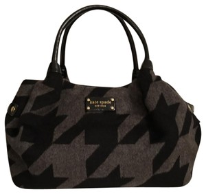 Kate Spade Tote Patent Leather Felt Satchel in Black Gray