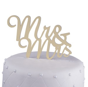 Unik Occasions Mr. & Mrs. Script Acrylic Cake Topper Gold Mirror