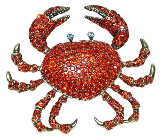 "Item - Red Lg. ""Queen Crab"" Swarovski Crystal Brooch Pin"