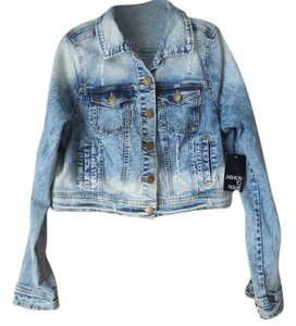 Fashion to Figure New With Tags Plus-size Button Close Cotton Blend Distressed Blue Womens Jean Jacket