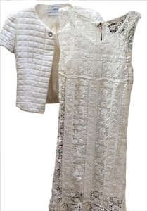 Raviani Lace Cream A-line Lined Dress