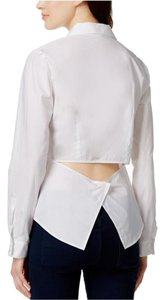 Rachel Roy Long Sleeve Woven Button Down Shirt White