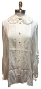Escada Diamondlike Buttons Detailed Bodice Detailed Back Detailed Sleeves Top White