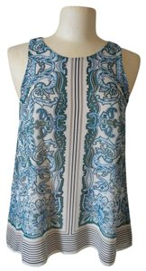 Max Studio Top Ivory, teal and blue