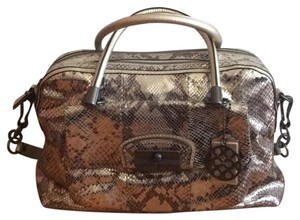 Coach Satchel in Multi metallic gunmetal snake print