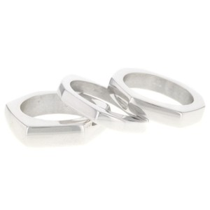 Gucci GUCCI Set of Three Sterling Silver Stacking Rings