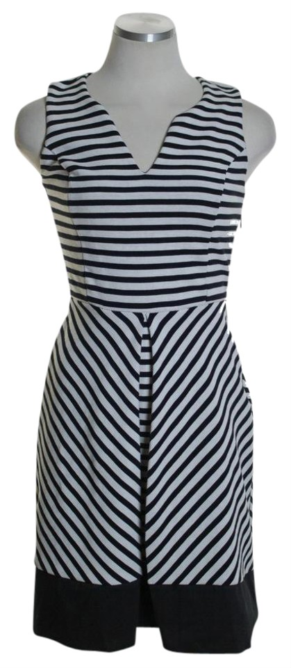 bc45eff387df Maison Jules Black White Textured Striped Knit Single-pleat Fit & Flare  Casual Dress