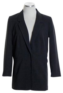 Kensie Long Sleeve Woven One-button Black Blazer