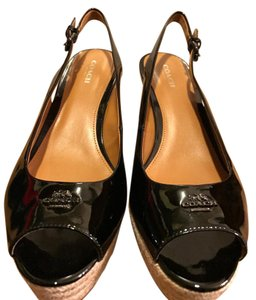 Coach Peep Toe Summer BLACK Wedges
