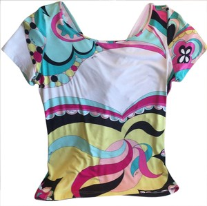 Emilio Pucci T Shirt white pink lime green