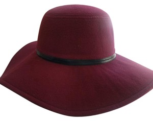 Rampage RAMPAGE Women's Felt Floppy Hat with Faux-Leather Trim, Marsala, One S