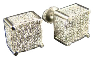 Other Ice Cube Block Mens/Ladies Diamond Stud Earrings 1.4 Ct