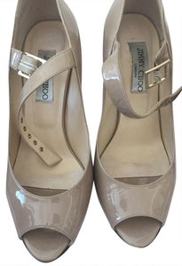 Jimmy Choo Patent-leather Nude Mary Jane Stone Pumps