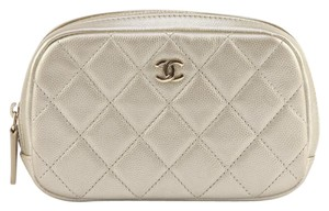 Chanel Chanel 16B Light Gold Quilted Caviar Leather O-CASE Wallet Clutch