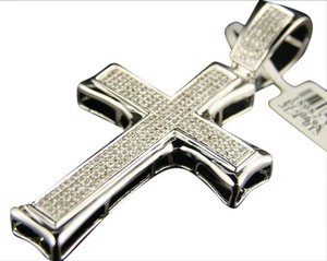 Other 10K White Gold 2.6 Inch Si Pave Diamond Cross 1.35 Ct