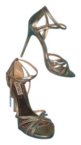 Badgley Mischka Ankle Strap Leather Platform Platino Gold Sandals