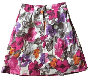 H&M A-line Floral Pleated Skirt Pink Purple White