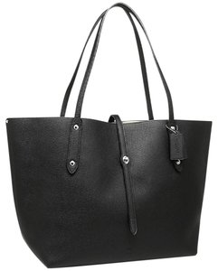 Coach Large Leather Floral Tote in BLACK
