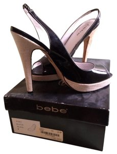 Bebe Black Patent Leather Slingback Platforms