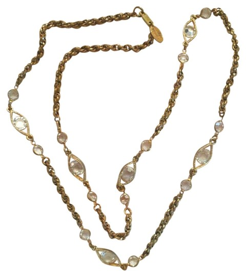 Other Signed Miriam Haskell Crystal Gold Tone Long Necklace