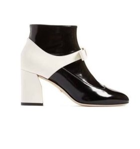 Gucci Chunky Heel Colorblock Black and White and Gold Boots