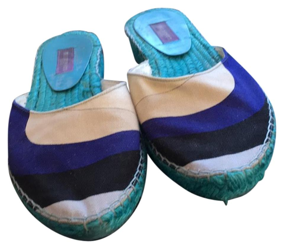 Emilio Pucci Multicolor Canvas Colored Mules/Slides Mules/Slides Colored 5b4ff4