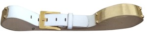 Cache Cache Patent White Leather & Gold Belt Size L