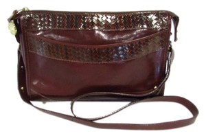 Brahmin Vintage Woven Leather Messenger Cross Body Bag