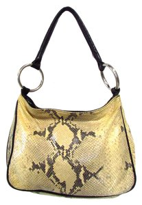 Donald J. Pliner Leather Snakeprint Animal Print Reptile Print Hobo Bag