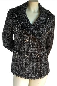 Focus 2000 Chanel Boucle Black And White Tweed Double Breasted black/white Blazer