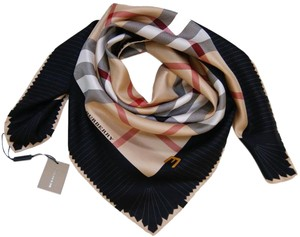 Burberry Prorsum Classic Check Beige Black Silk Scarf large big