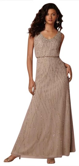 BHLDN Taupe Tulle Overlay Sparkle Beads Brooklyn 35953033 Modern Bridesmaid/Mob Dress Size 10 (M) Image 0