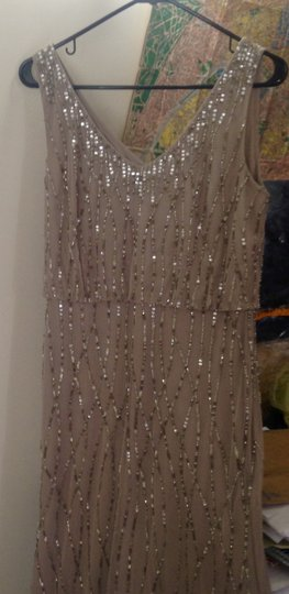 BHLDN Taupe Tulle Overlay Sparkle Beads Brooklyn 35953033 Modern Bridesmaid/Mob Dress Size 10 (M) Image 1