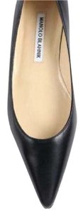 Manolo Blahnik Pointed Toe Point-toe Black Leather Flats