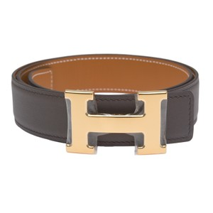 Hermès Hermes 32mm Reversible Etain/Gold Constance H Belt 85cm Gold Buckle