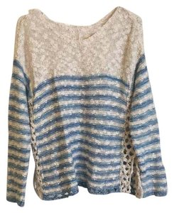 Free People Cream Blue Knit Crochet Sweater