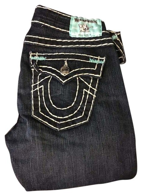 Item - Dark Blue Denim with White and Teal Stitching Rinse Billy Super T Straight Leg Jeans Size 27 (4, S)