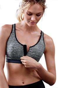 Victoria's Secret Victoria Secret VSX Double Layer Sports Bra Yoga Zipper Gray Black 34C