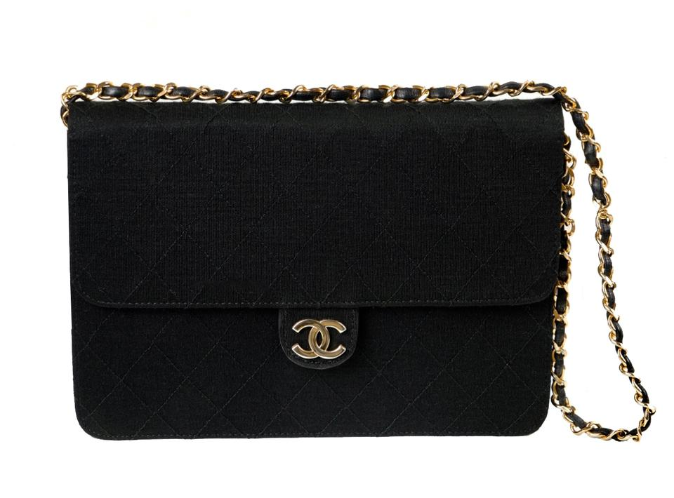 c64eee4cfb1a5 Chanel Quilted Matelasse Cc Logo Chain Black Jersey Shoulder Bag ...