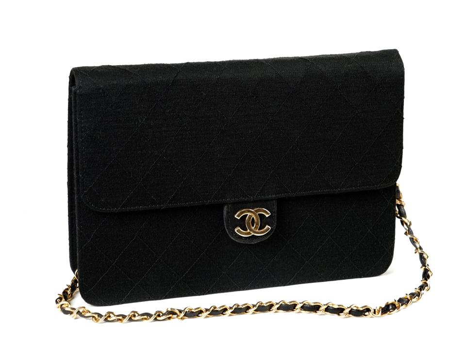 9d227ac211b96a Chanel Quilted Matelasse Cc Logo Black Jersey Shoulder Bag - Tradesy