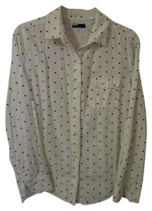 BDG Button Down Shirt ivory & black polka dot