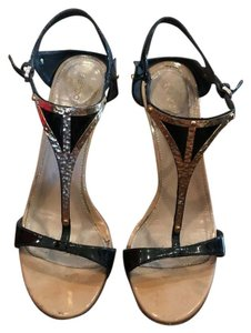 Sergio Rossi Black and Gold Sandals