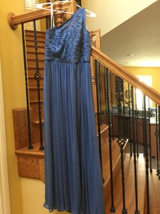David's Bridal Steel Blue Long One Shoulder Lace Bridesmaid Dress F17063 Dress