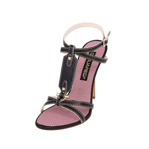 Dsquared2 Leather Made In Italy High Heel Black Sandals