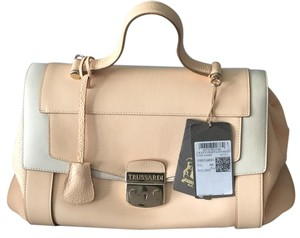 Trussardi Lucinda Calf Leather Satchel in Beige