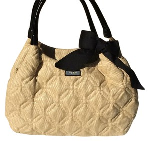 Kate Spade Quilted Bow Straw Tote