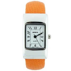Geneva Petite Cuff Watch with Rectangle Dial Lizard Design Strap