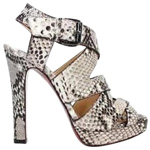 Christian Louboutin Zig Python Grey, Black, White Platforms