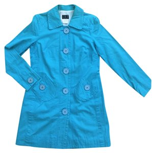 INC International Concepts Trench Aqua Oversized Buttons Trench Coat